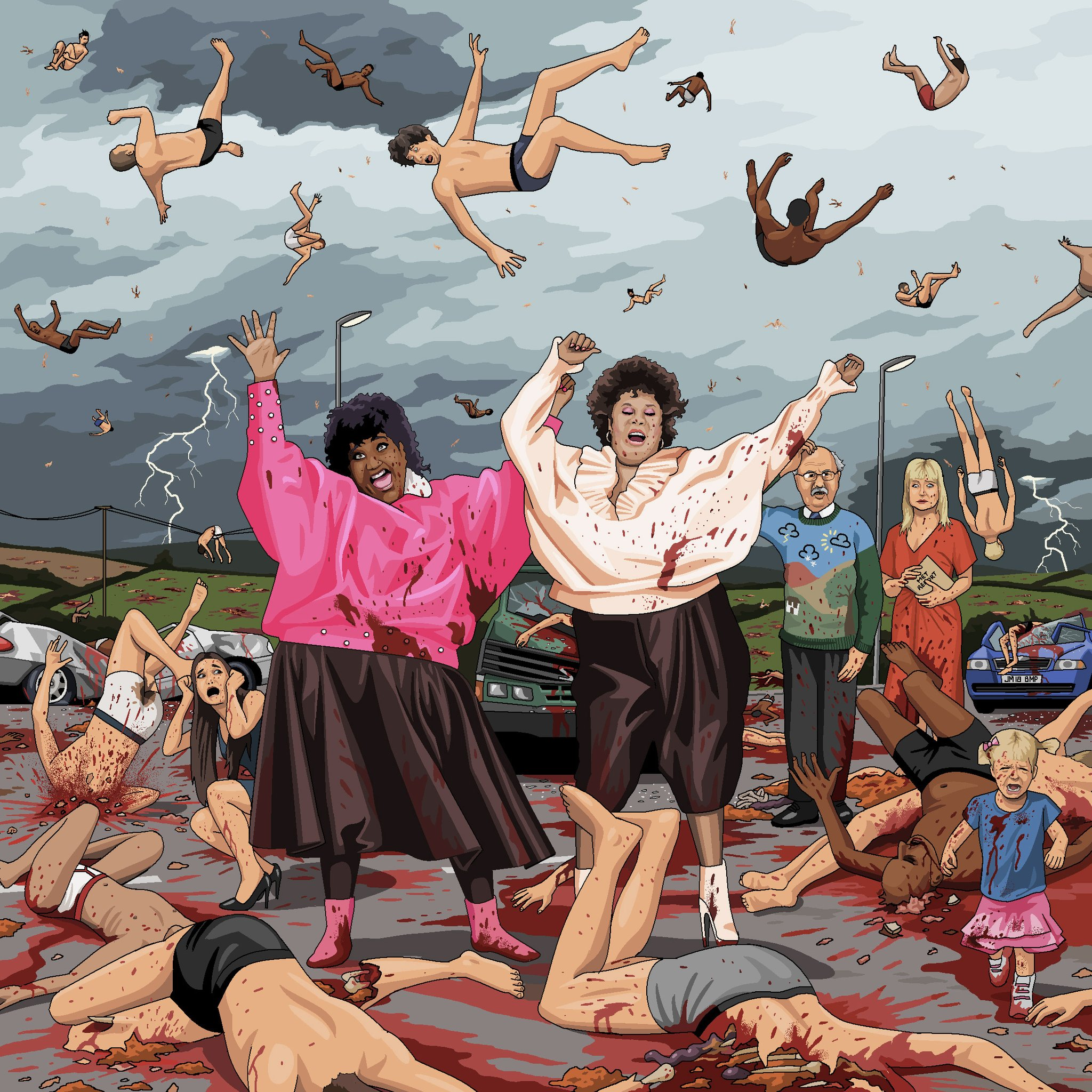 "The Weather Girls performing ""It's Raining Men"" whilst surrounded by a scene of absolute carnage as the aforementioned men lie dead and dying around them, having inexplicably fallen from the sky. Michael Fish and Sian Lloyd look on, bewildered."