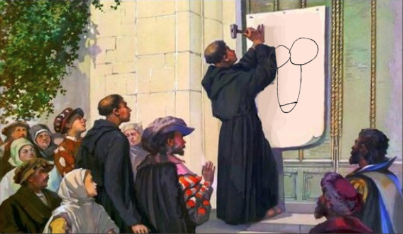 painting of Martin Luther nailing his 96 theses to the door of the Tumblr offices, 2018, colorized