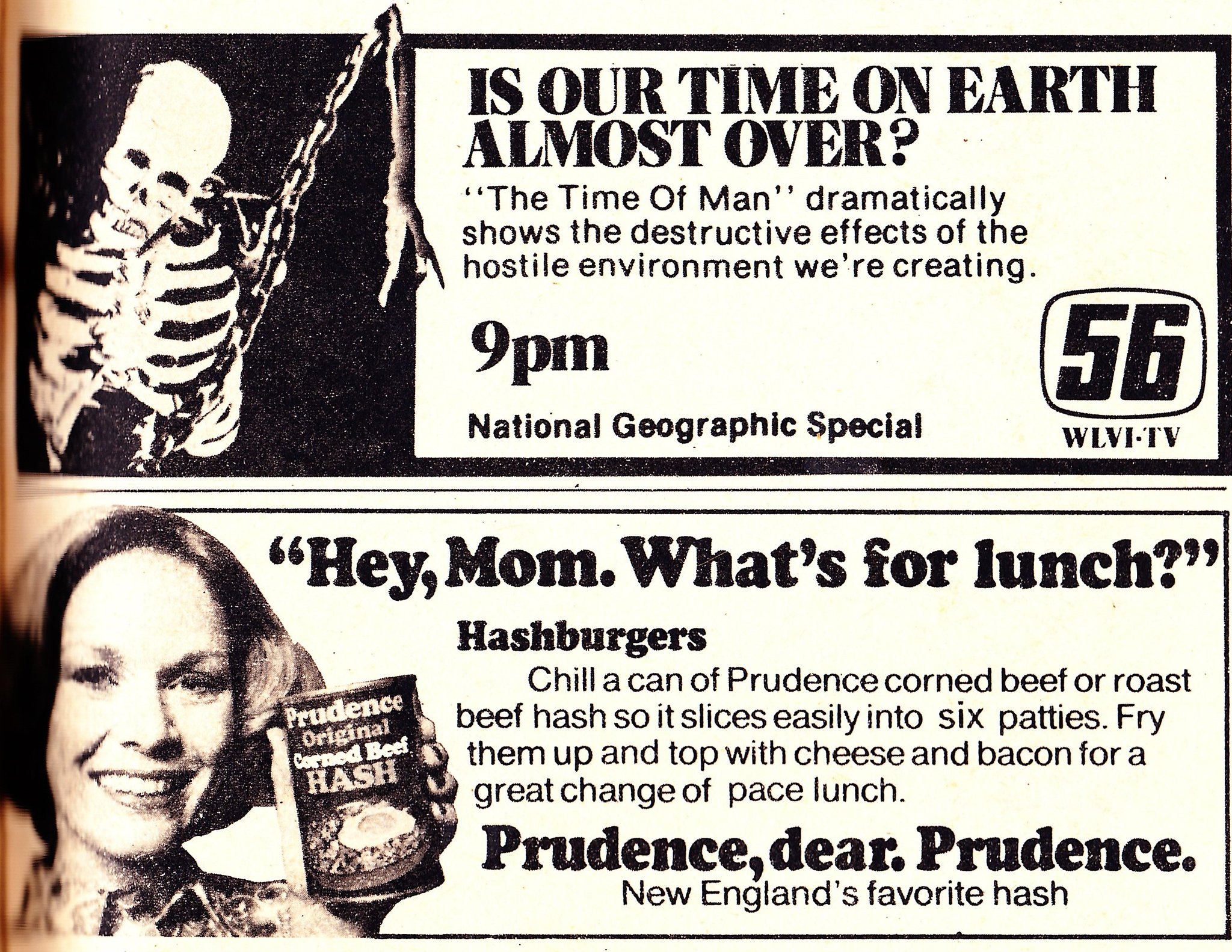 Ads from a TV Guide, January 1977