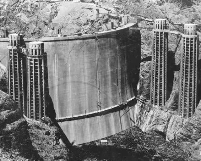 backside of the Hoover Dam, 1936