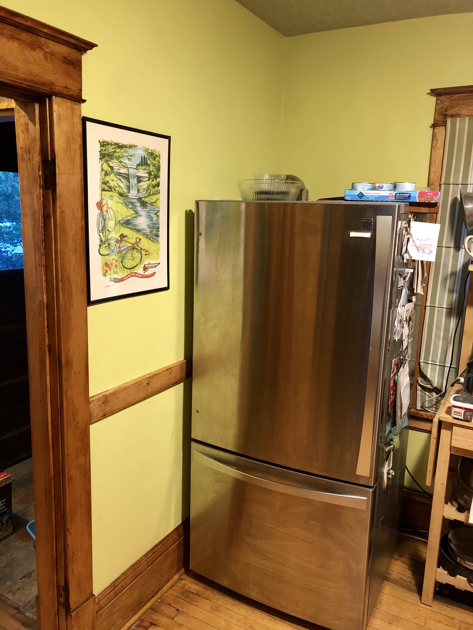 Behind the refrigerator door