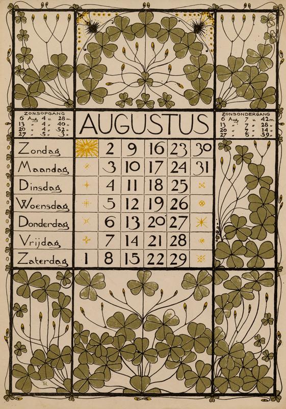 Calendrier 1951.Calendrier De L Annee 1896 Par Theodoor Willem Nieuwenhuis