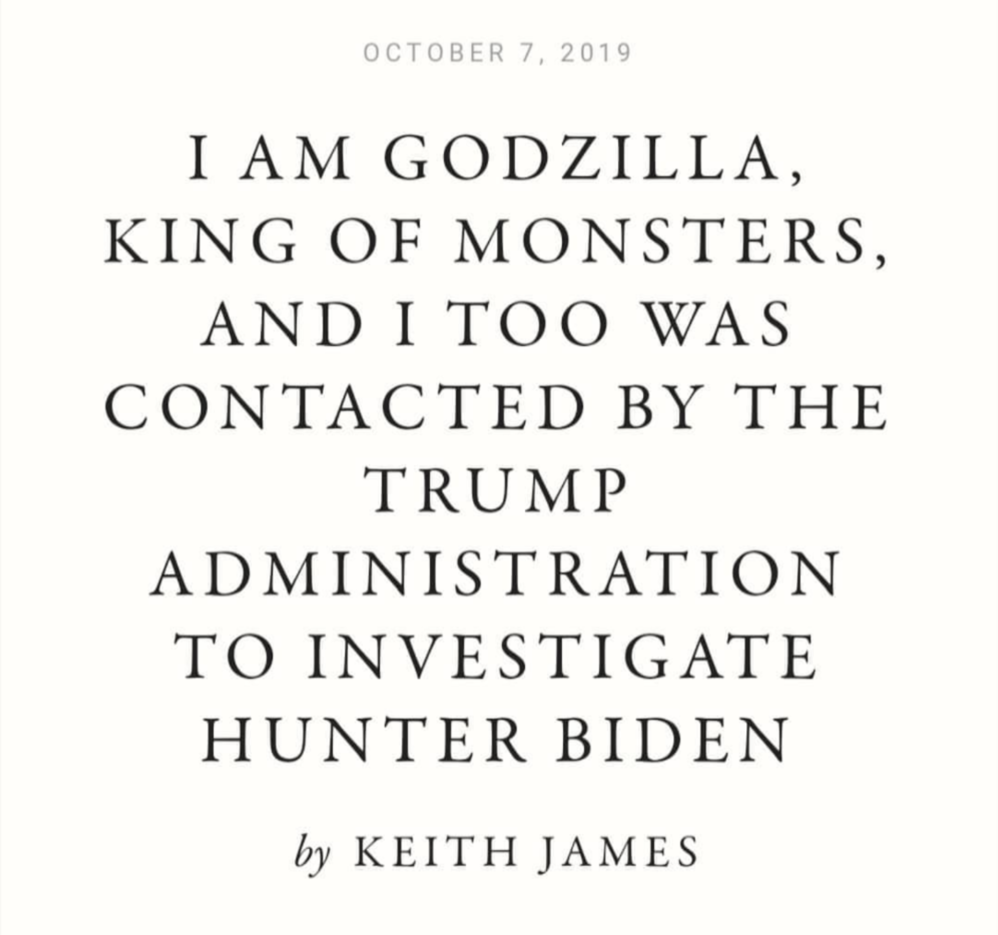 and yet no one questions Godzilla Jr's private email server