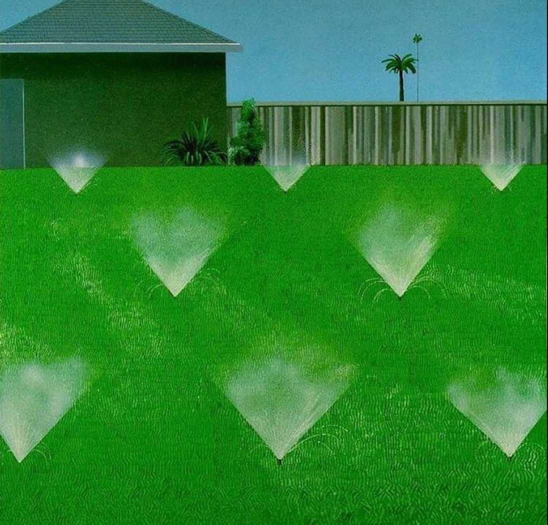 David Hockney, Lawn being sprinkled