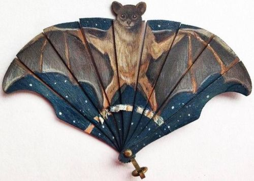 Hand painted, exceptionally rare miniature bat fan on thin shaved wood, c. 1890