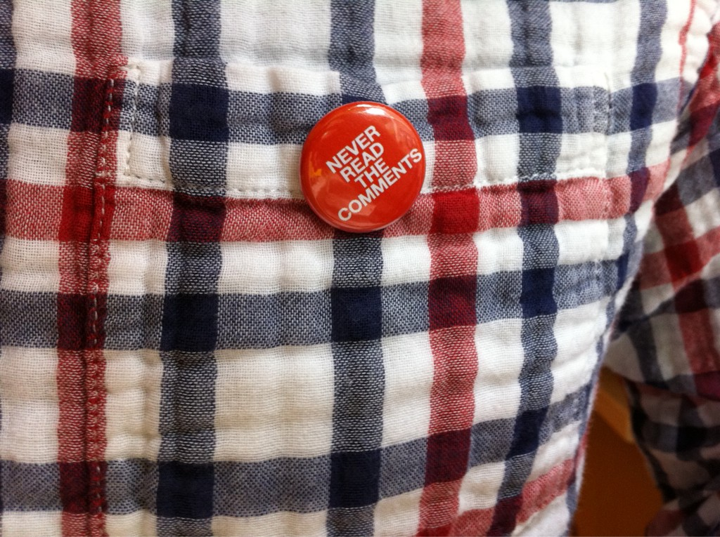 Wearing my new favorite button