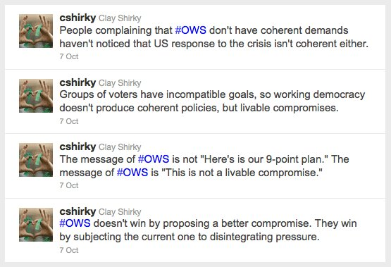 Clay Shirky understands Occupy Wall Street.